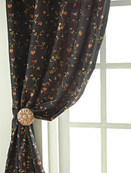 cheap -Two Panels Rose Garden Embroidery Panel Curtains Drapes Black