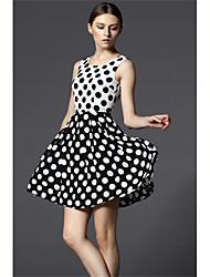 cheap -Women's Cute A Line Skater Dress - Polka Dot Color Block