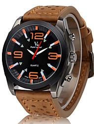 Недорогие -V6 Муж. Армейские часы Наручные часы Кварцевый Японский кварц Кожа Группа Черный Коричневый Хаки