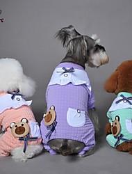 abordables -Chien Combinaison-pantalon Pyjamas Vêtements pour Chien Nœud papillon Bande dessinée Violet Vert Rose Coton Costume Pour les animaux
