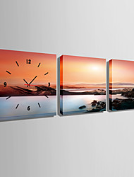 E-HOME® The Sunset Sea Mountain Clock in Canvas, Art Wall Clock 3pcs