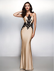 Mermaid / Trumpet Scoop Neck Sweep / Brush Train Jersey Prom Formal Evening Black Tie Gala Dress with Appliques by TS Couture®