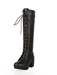 Feminino Sapatos Courino Outono Inverno botas de desleixo Salto Grosso Salto de bloco Botas Cano Alto Cadarço Para Casual Social Branco
