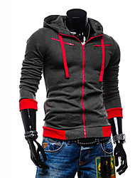 Men's Plus Size Sports Casual/Daily Simple Active Hoodie Jacket Color Block Cotton Polyester Long Sleeve Fall Winter Spring