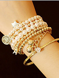 cheap -Women's Cuff Bracelet Strand Bracelet Classic Multi Layer Pearl Imitation Pearl Alloy Tower Jewelry Christmas Gifts Daily Casual Costume