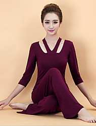 cheap -Women's Purple, Pink, Burgundy Sports Solid Colored Modal Clothing Suit Yoga, Exercise & Fitness Half Sleeve Activewear Breathable, Lightweight Materials Stretchy