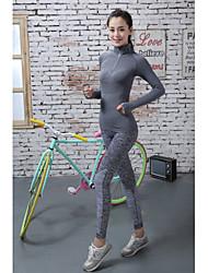お買い得  -女性用 ジム用レギンス ランニングタイツ ベースレイヤー 速乾性 サイクリングタイツ ボトムズ ヨガ エクササイズ&フィットネス ランニング ナイロン レッド ブルー グレー S M L XL