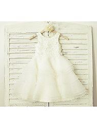 cheap -A-Line Knee Length Flower Girl Dress - Lace Organza Sleeveless Scoop Neck with Lace by LAN TING BRIDE®