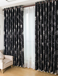 cheap -Rod Pocket Grommet Top Tab Top Double Pleat Two Panels Curtain Modern , Flocking Living Room Polyester Material Blackout Curtains Drapes