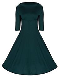 baratos -Mulheres Vintage Rodado Vestido Sólido Médio