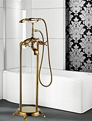 cheap -Art Deco/Retro Floor Mounted Floor Standing Ceramic Valve One Hole Three Handles One Hole Ti-PVD, Bathtub Faucet