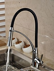Deck Mounted Solid Brass Chrome Finish Single Handle Single Hole Pull Down Kitchen Faucet
