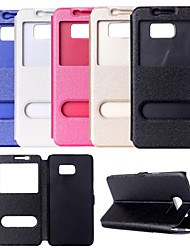 cheap -Case For Samsung Galaxy Samsung Galaxy Case with Stand / with Windows Full Body Cases Solid Colored PU Leather for S6 edge plus