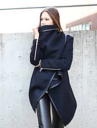 Cappotto Da donna Casual Per tutte le stagioni Semplice Blu Verde Manica lunga Medio spessore