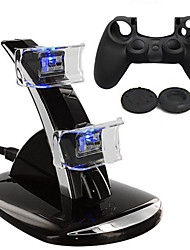 cheap -Dual USB With Blue LED Charging Dock Station Stand + Silicone case for PS4 Controller