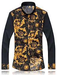 Masculino Camisa Casual / Escritório Estampado Manga Comprida Algodão / Microfibra Azul / Branco / Amarelo / Bege