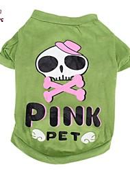 levne -Kočka Pes Kostýmy Trička Úbory Oblečení pro psy Lebky Komiks Zelená Bavlna Kostým Pro domácí mazlíčky cosplay Svatba Halloween