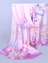 Women's Chiffon Colorful Flowers Print Scarf