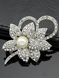cheap -Women's Brooches - Pearl, Crystal, Cubic Zirconia Flower Party, Work, Fashion Brooch White For Wedding / Party / Special Occasion