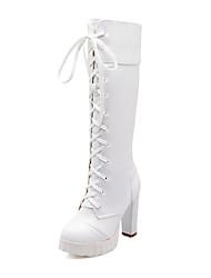 baratos -Mulheres Sapatos Courino Outono Inverno Salto Robusto 40,64 a 45,72 cm Botas Cano Alto para Casual Escritório e Carreira Social Branco