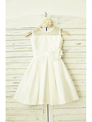 cheap -A-Line Knee Length Flower Girl Dress - Taffeta Sleeveless Jewel Neck with Sash / Ribbon Flower by LAN TING BRIDE®