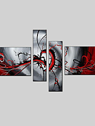 Недорогие -Ручная роспись АбстракцияModern / Европейский стиль 4 панели Холст Hang-роспись маслом For Украшение дома