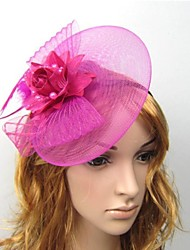 cheap -Tulle Feather Fascinators Flowers Hats Hair Clip Headpiece Elegant Style