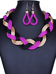 MPL Bohemia wind fashion hand woven rope twist Necklace Earrings Set