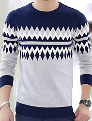 cheap -Sport Casual Work Regular Pullover,Print Round Neck Long Sleeve Cotton Cotton Blend Knitwear