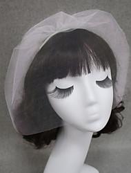 Veli da sposa 1 strato Veletta Velo per capelli corti Bordo tagliato Tulle Bianco Avorio