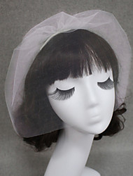 1 capa Corte de borde Velos de Boda Corto o Blusher Velo para cabello corto Con Tul