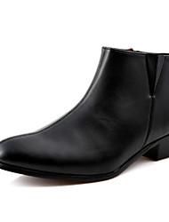 お買い得  -男性用 靴 レザーレット 冬 秋 コンフォートシューズ ブーツ 約5.08~10.16cm ブーティー/アンクルブーツ ジッパー のために カジュアル ブラック ダークブルー バーガンディー