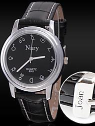 Недорогие -Персональный подарок Часы Кварцевый Часы With Металл Материал корпуса PU Группа Повседневные часы Глубина сопротивления воды