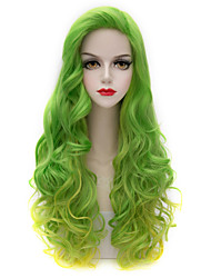 Rainbow Lolita Fashion Women Wig Long Curly Lady Side Bang Green&Gold Harajuku Lolita Synthetic Purecas Women Wig