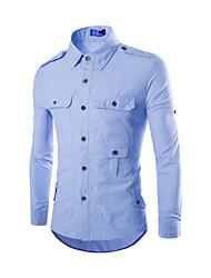 お買い得  -男性用 シャツ シンプル ソリッド