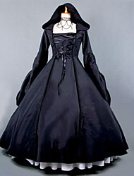abordables -Gothique Steampunk® Femme Robes Cosplay Noir Poète Manches Longues Long