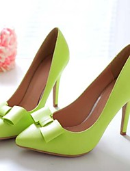 cheap -Women's Spring Summer Fall Winter Leather Wedding Office & Career Dress Stiletto Heel Bowknot Black Green Pink White