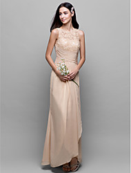 cheap -A-Line Bateau Neck Asymmetrical Chiffon / Lace Bodice Bridesmaid Dress with Lace / Criss Cross by LAN TING BRIDE®