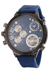 お買い得  -JUBAOLI 男性用 軍用腕時計 航空ウォッチ クォーツ シリコーン ブラック / ブルー / レッド ハンズ ブラック レッド ブルー