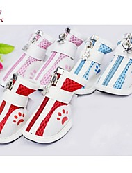 Cat Dog Shoes & Boots Casual/Daily Winter Spring/Fall Stripe Red Blue Pink Cotton PU Leather