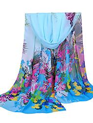 cheap -Women Chiffon Scarf Contrast Leaves Print Long Shawl Colorful Fashion Pashmina