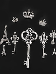 cheap -Beadia Metal Eiffel Tower & Key & Crown Charm Pendants Antique Silver Plated DIY Jewelry Accessories
