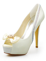 cheap -Women's Shoes Stretch Satin Summer Stiletto Heel Crystal for Wedding Dress Party & Evening Ivory