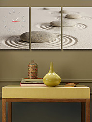 The Sand Round Stone Clock in Canvas 3pcs