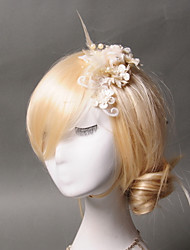 cheap -Tulle Imitation Pearl Feather Hair Clip 1 Wedding Special Occasion Casual Headpiece
