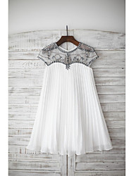 cheap -Sheath / Column Knee Length Flower Girl Dress - Chiffon Short Sleeves Jewel Neck with Beading by LAN TING BRIDE®