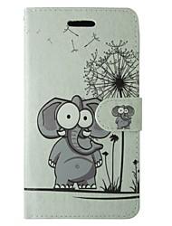 Cartoon Elefant und Löwenzahn Muster PU Ledertasche mit Magnetverschluss und Einbauschlitz für iPhone 5 / 5s