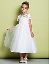 A-Line Tea Length Flower Girl Dress - Lace Tulle Short Sleeves Jewel Neck with Lace by LAN TING BRIDE®