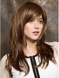 cheap -Synthetic Wig Straight Layered Haircut / With Bangs Synthetic Hair Side Part Brown Wig Women's Medium Length Capless