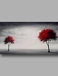 Ručně malované Abstraktní Květinový/Botanický motiv Abstraktní krajinka Horizontální Panoramic,Moderní Jeden panel PlátnoHang-malované
